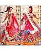 Multicolored banglory satin digital printed bollywood style lehenga choli
