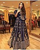 Navy blue banglory satin stylist embroidered wedding function lehenga