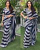 navy blue georgette white strip printed partywear saree