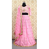 pink net embroidered beautiful lehenga choli