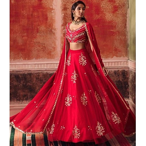 red georgette embroidered wedding lehenga