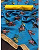 sky blue printed georgette saree