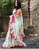 sky georgette beautiful digital floral printed ceremonial saree