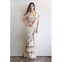 white georgette designer embroidered ceremonial ruffle saree