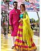 yellow and pink multicolored ceremonial lehenga