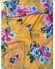 yellow flower printed digital printed georgette saree