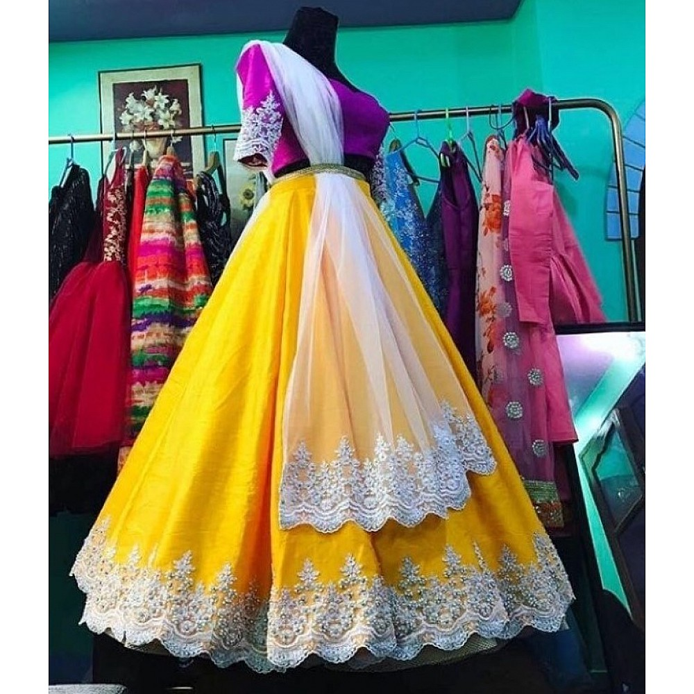 yellow georgette embroidered partywear lehenga
