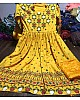 yellow printed crep semistitched anarkali suit