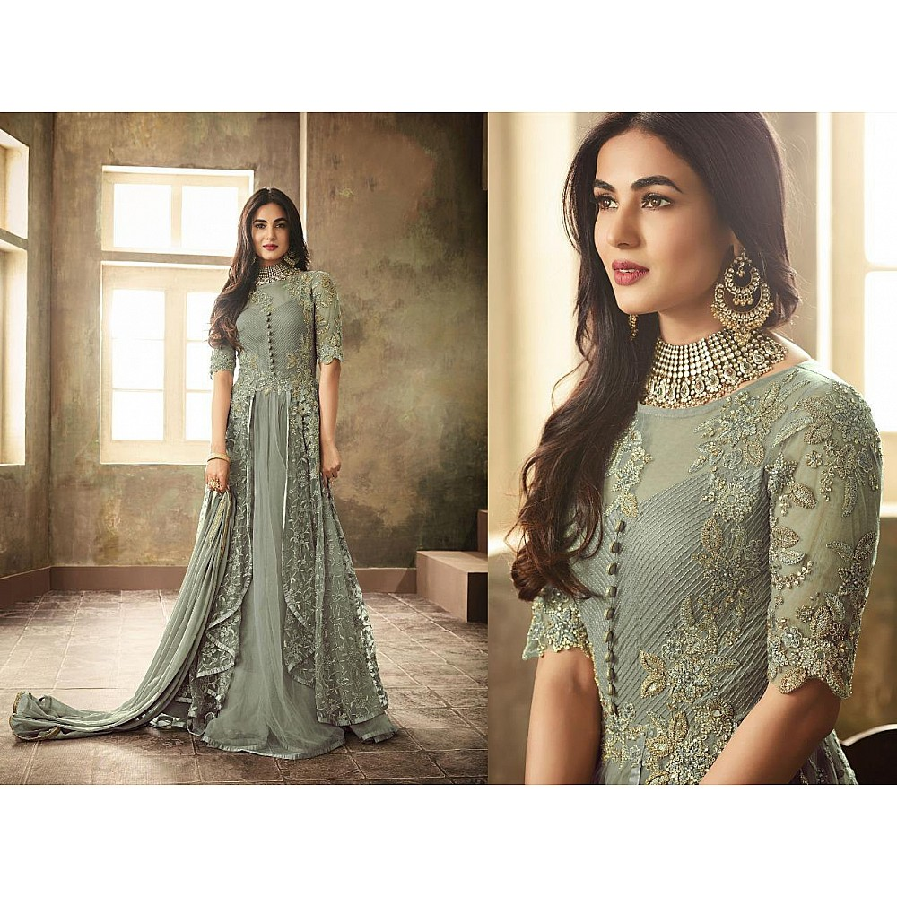 Sea green heavy net embroidery and stone worked designer gown with dupatta