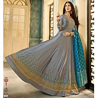 Grey satin georgette long anarkali suit