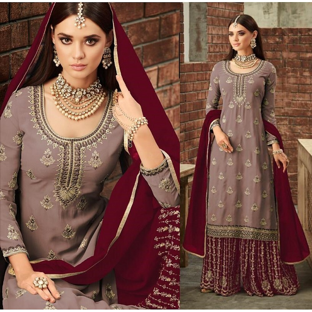 heavy faux georgette embroidered plazzo salwar suit