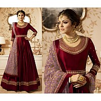wine red heavy linen satin styslit long anarkali suit