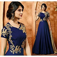 Blue faux georgette beautiful embroidered partywear gown