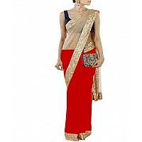 cream net and red half half sequence border partywear saree