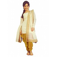 white and gold cotton silk patiala suit