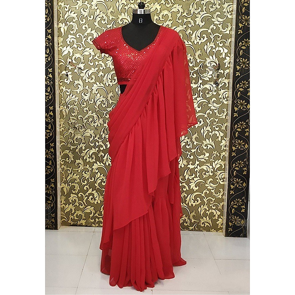 Red ruffle georgette partywear saree with sequence work blouse