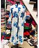 white masleen blue floral printed casual kurti