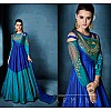 Sky Blue & Blue Colored C/N tapeta silk Zari & Resham Embroidery with Stone and Moti Work Semi Stitched gown