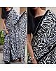 Black and white vichitra silk digital flower printed saree