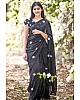 Black georgette embroidery work saree