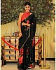 Black pure georgette floral digital printed partywear saree