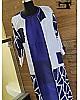 blue paper silk stylist kurti with shrug