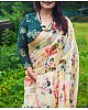cream digital floral printed linen saree