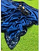 Navy blue pure satin sequence work partywear saree