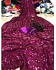 Purple georgette sequence embroidery partywear saree