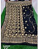 Stylist black georgette heavy embroidery ceremonial saree