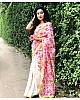 white and pink floral digital printed satin saree
