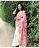 white and pink floral digital printed satin saree
