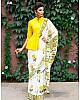 White chanderi digital printed stylist saree