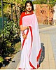 White georgette red border plain saree