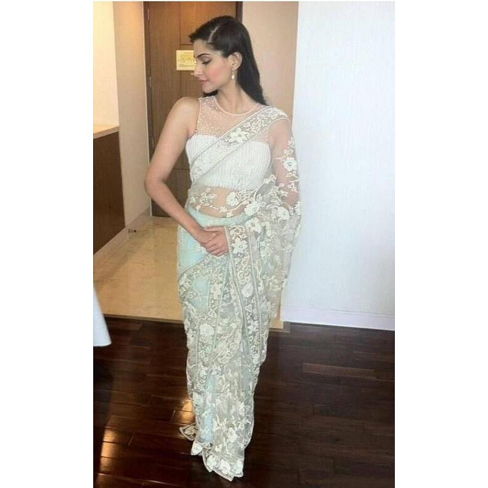 White pure net multi thread work designer saree