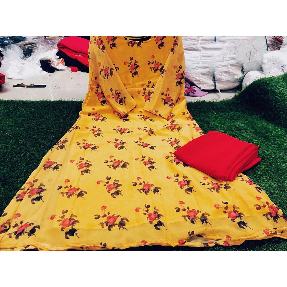 yellow floral printed anarkali suit