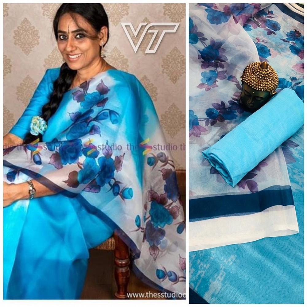 sky blue shaded orgenza digital floral printed saree