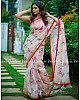 baby pink chanderi cotton printed saree