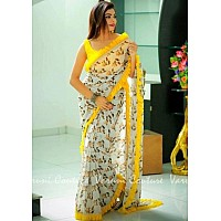 beautiful orgenza digital printed saree with ruffel border