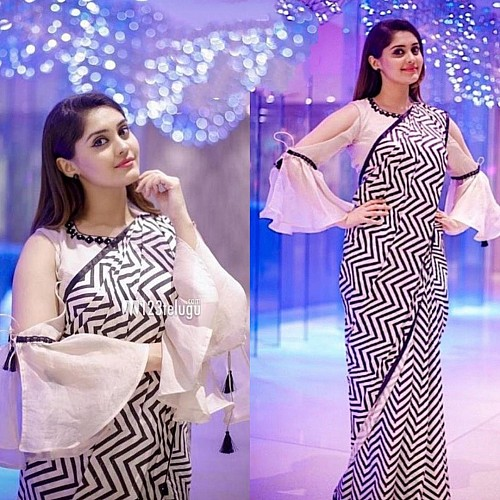 black and white zig zag printed stylist partywear saree