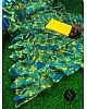 Green georgette floral digital printed designer ruffle saree