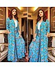 sky blue georgette printed plazzo suit with jacket