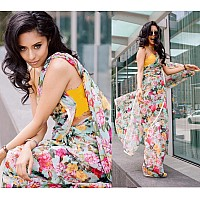 sky orgenza floral digital printed stylist casual wear saree