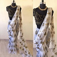 white mono net designer embroidered partywear saree