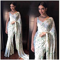 white moss chiffon digital printed partywear saree