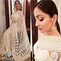 yami gautam off white net heavy embroidered threadwork and motiwork designer saree