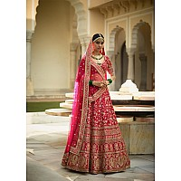 Pink floral embroidery on pink base art silk bridal lehenga