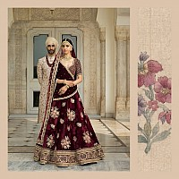 Deep maroon royal wedding lehenga with gold embroidery