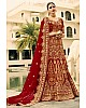 Maroon phantom silk heavy embroidered bridal lehenga