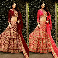 Maroon and Pink malbari silk heavy embroidered bridal lehenga